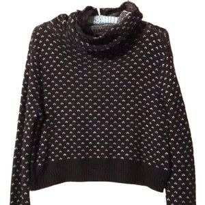 BDG black and white cropped cowl sweater medium